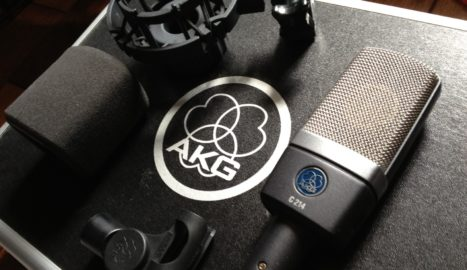 AKG C214 condenser microphone for home recording studio